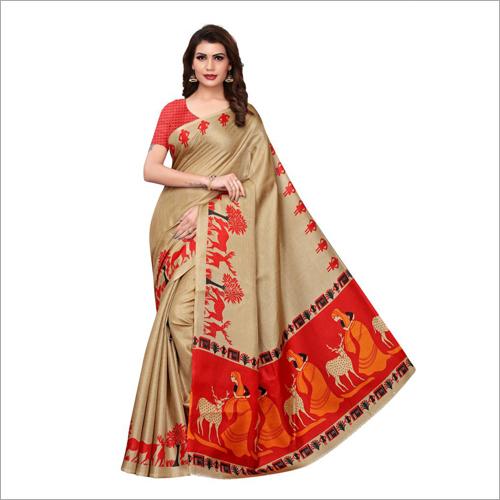 New Kalamkari Printed Silk Saree