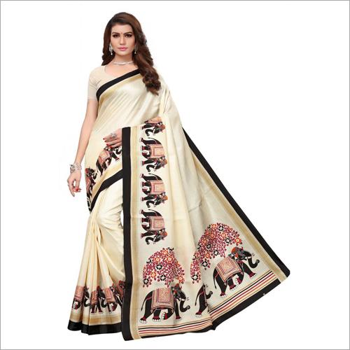 Printed Art Silk Checks Saree