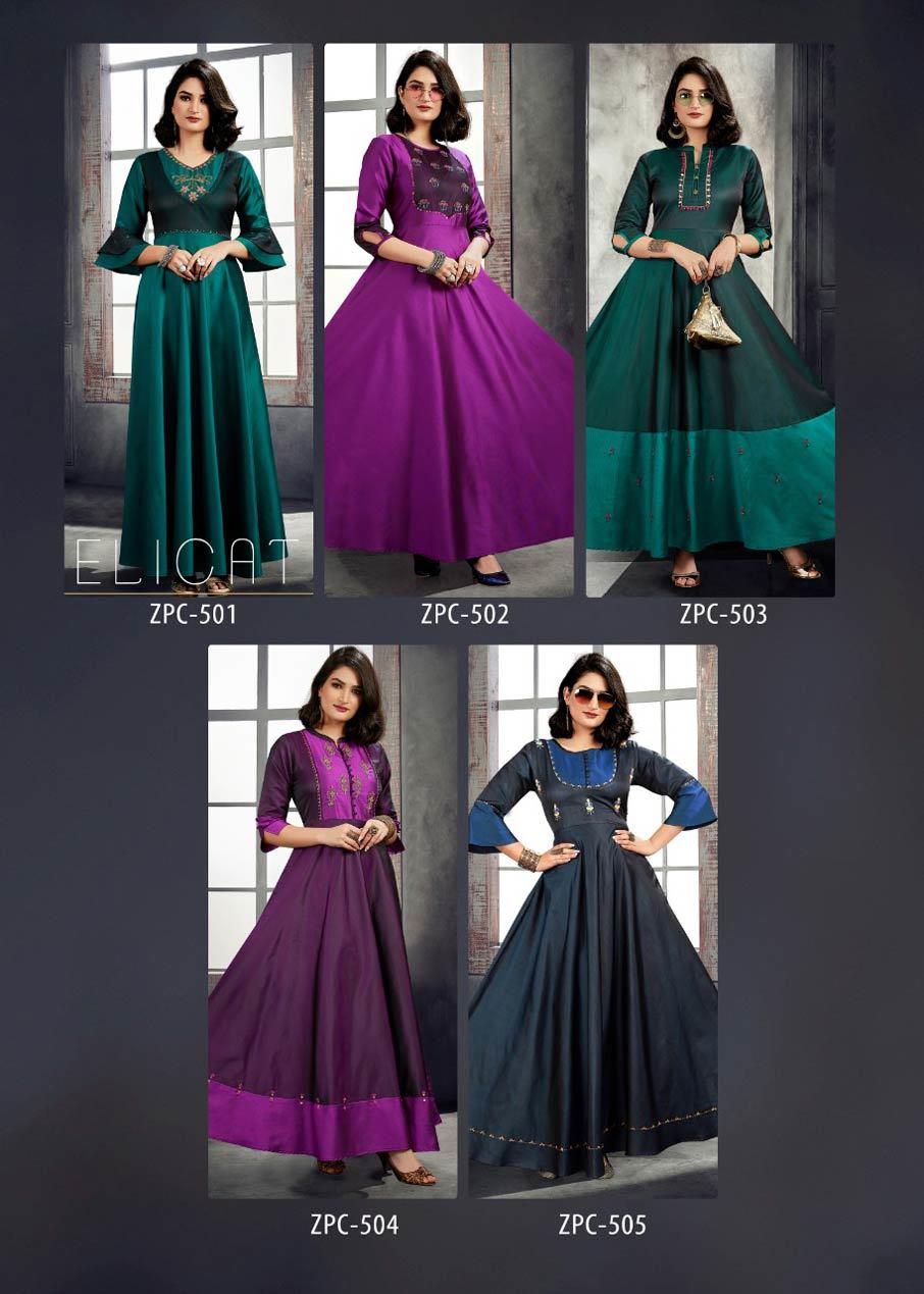 Art Riddhs Mirror Button Work Gown Catalog