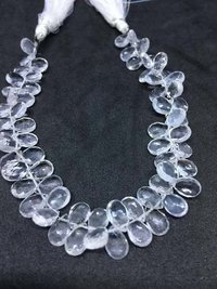 Natural Crystal Pear Faceted Beads, 6x8mm, 8 Inches Strand