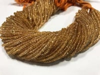 AAA Citrine micro faceted rondelle | 13 inch strand | 3MM approx | pack of 4 strings