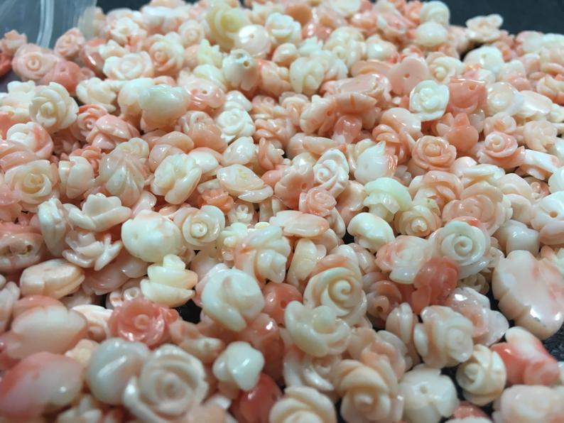 100% Natural Coral Hand Craved Flowers Half Drilled