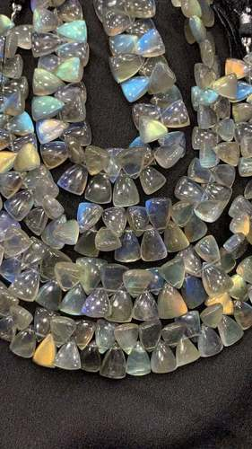 8 inchLabradorite triangle shape side drilled beads,8/10-9/12mm
