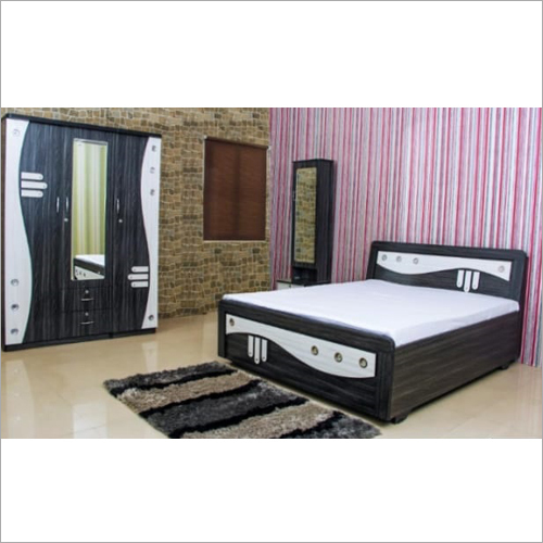 Wooden Almirah Double Bed Set