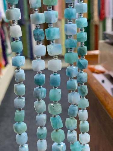 8 Inch  Larimar Cube Faceted Beads