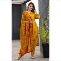 Ladies Ethnic Straight Pant Suit