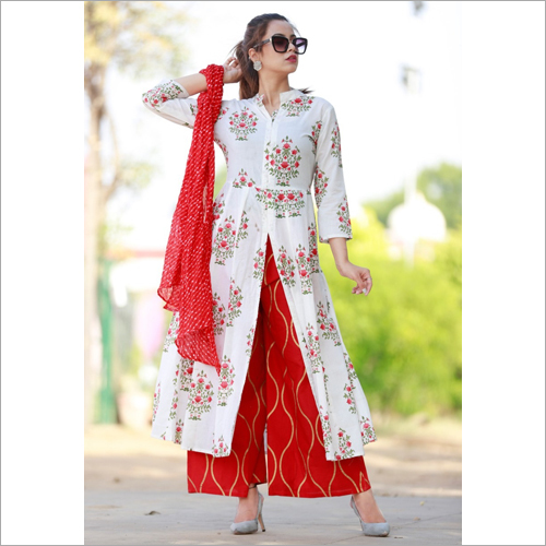 White & Red Cotton suit Set