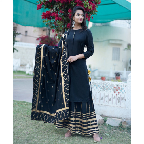 Black Gharara suit set