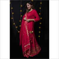 Rich red gharara set