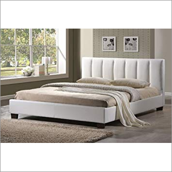 Georgia Diamante White Faux Leather Designer Bed