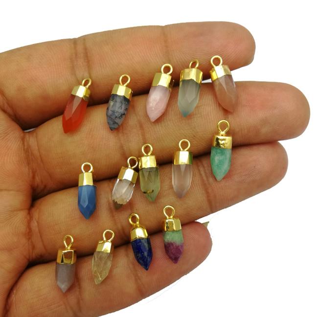 Semi Precious Gemstone Little Spike Gold Cap Pendant