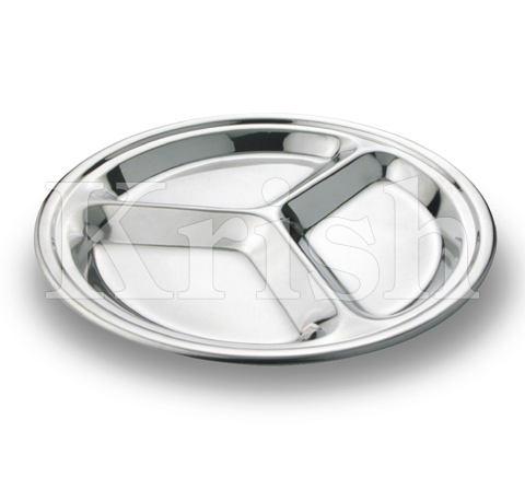 Round Compartment Tray- 3 Equal Comp.
