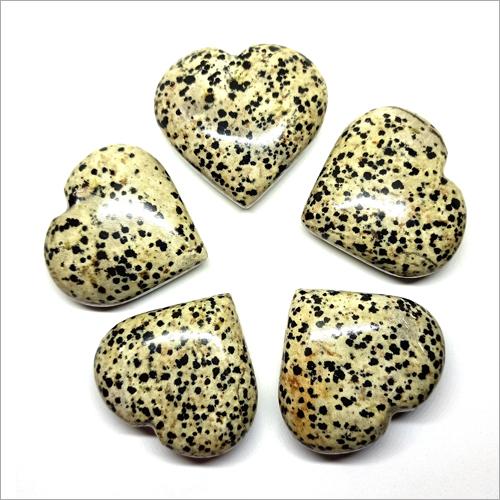 Dalmatian Jasper Puffy Heart Stone