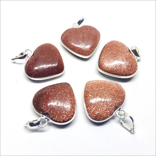 Red Gold Stone Heart Shape Pendant