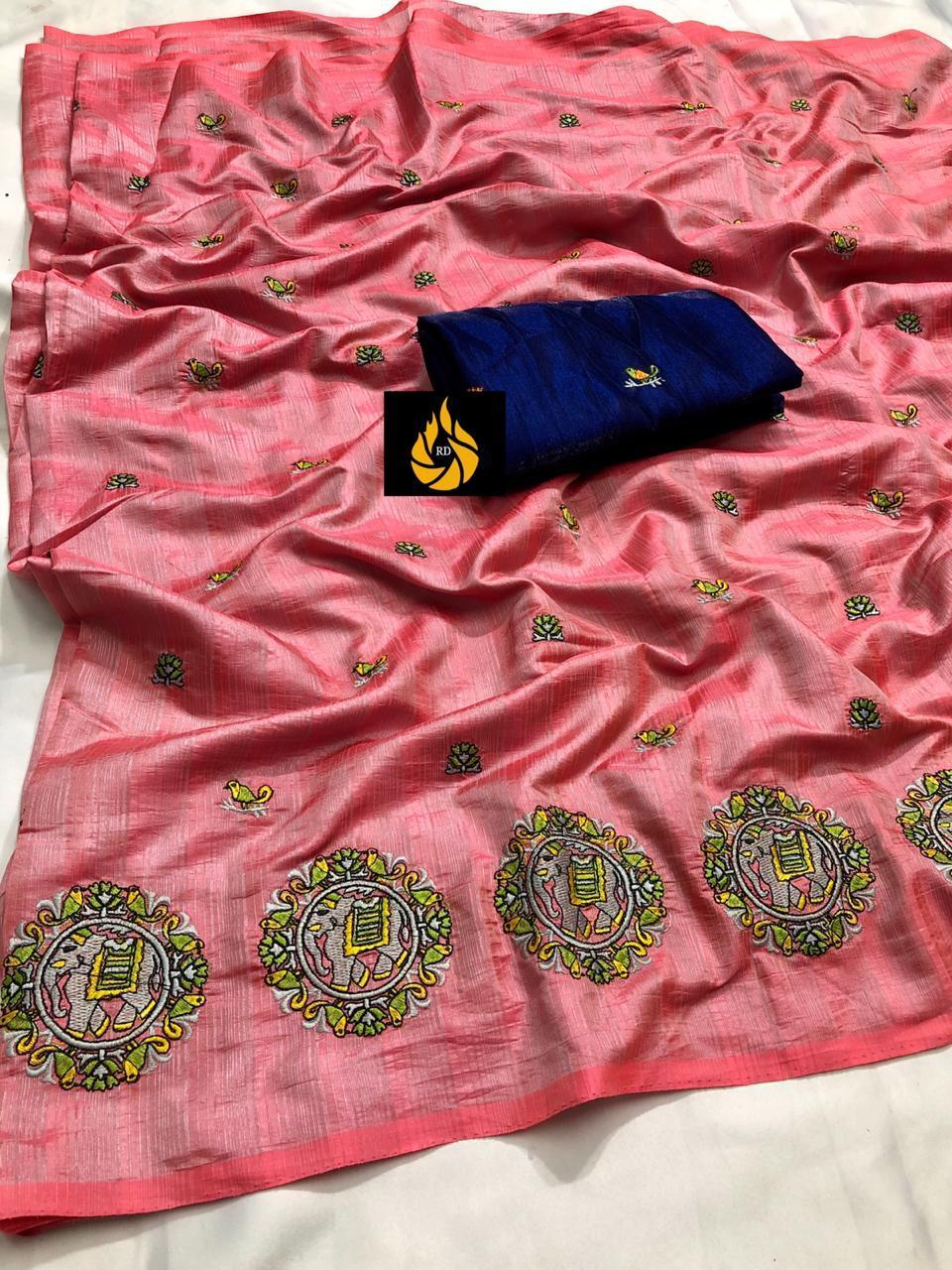 Sana Silk Saree Emroidery Work