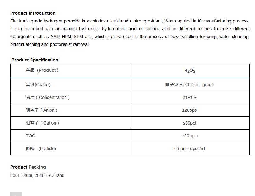 Hydrogen Peroxide Electronic Grade