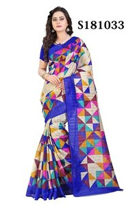 Colourful Fancy Printed Bhagalpuri Silk Saree