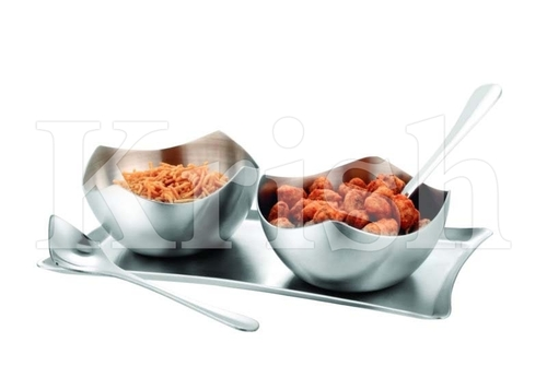 Four Petal Bowl Snack Tray Set- 2 Pcs