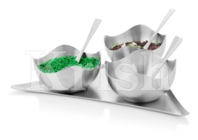 Four Petal Bowl Snack Tray Set - 3 Pcs