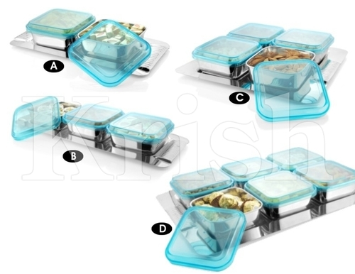 Deluxe Square Bowl With Cover Snack Tray
