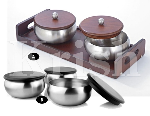 Round Snack Bowl With Wooden Cover & Stand