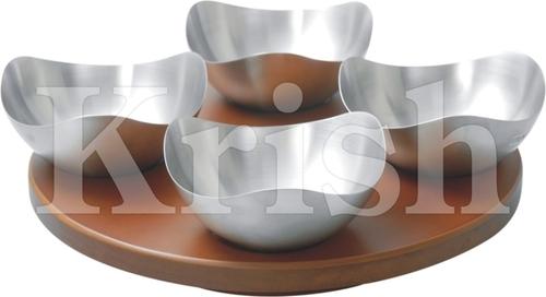 Opera Bowl With Wooden Revolving tray- 4 Pcs
