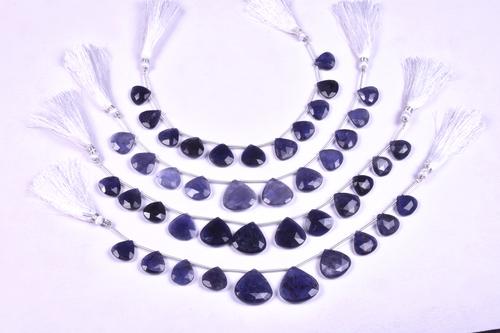 Iolite Heart Beads