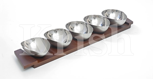 Oval Sauce Bowl With Wooden Tray Set - 5 Pcs