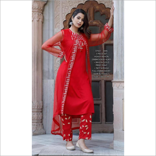 3 Piece Set Rayon Kurti With Pant
