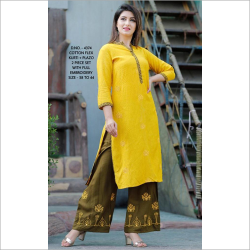 Cotton Flex Kurti Plazo Set