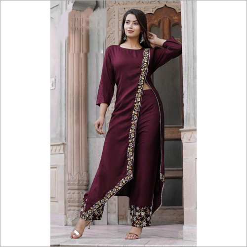 Rayon Long Kurti With Plazo