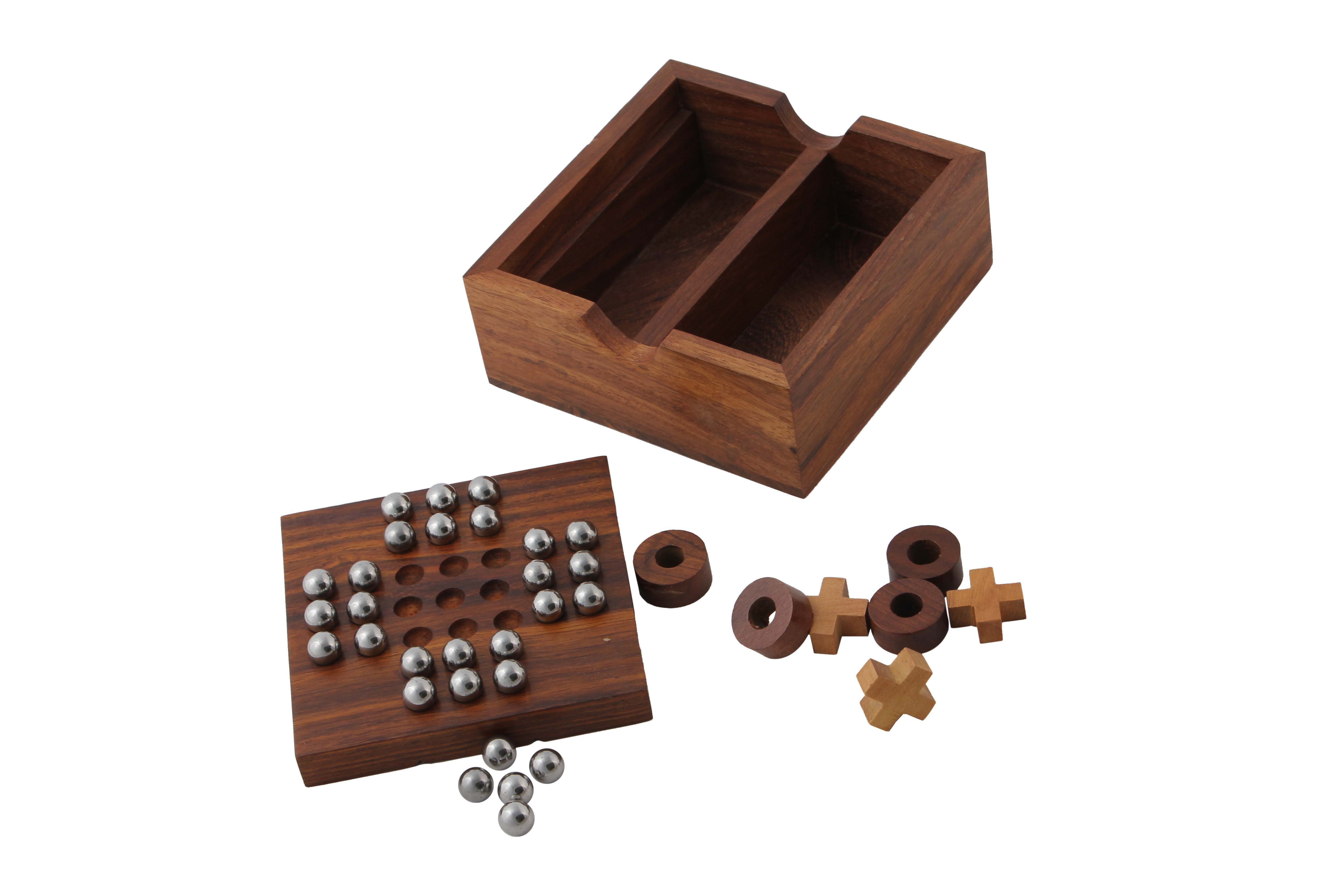 Solitaire Game Puzzles Wooden Indoor Outdoor with Marbles