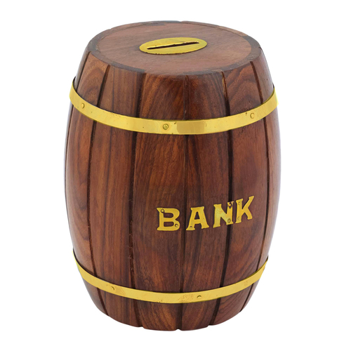 Craft Art India Decorative Handmade Wooden Barrel Shape Money Bank Piggy Bank Coin Box