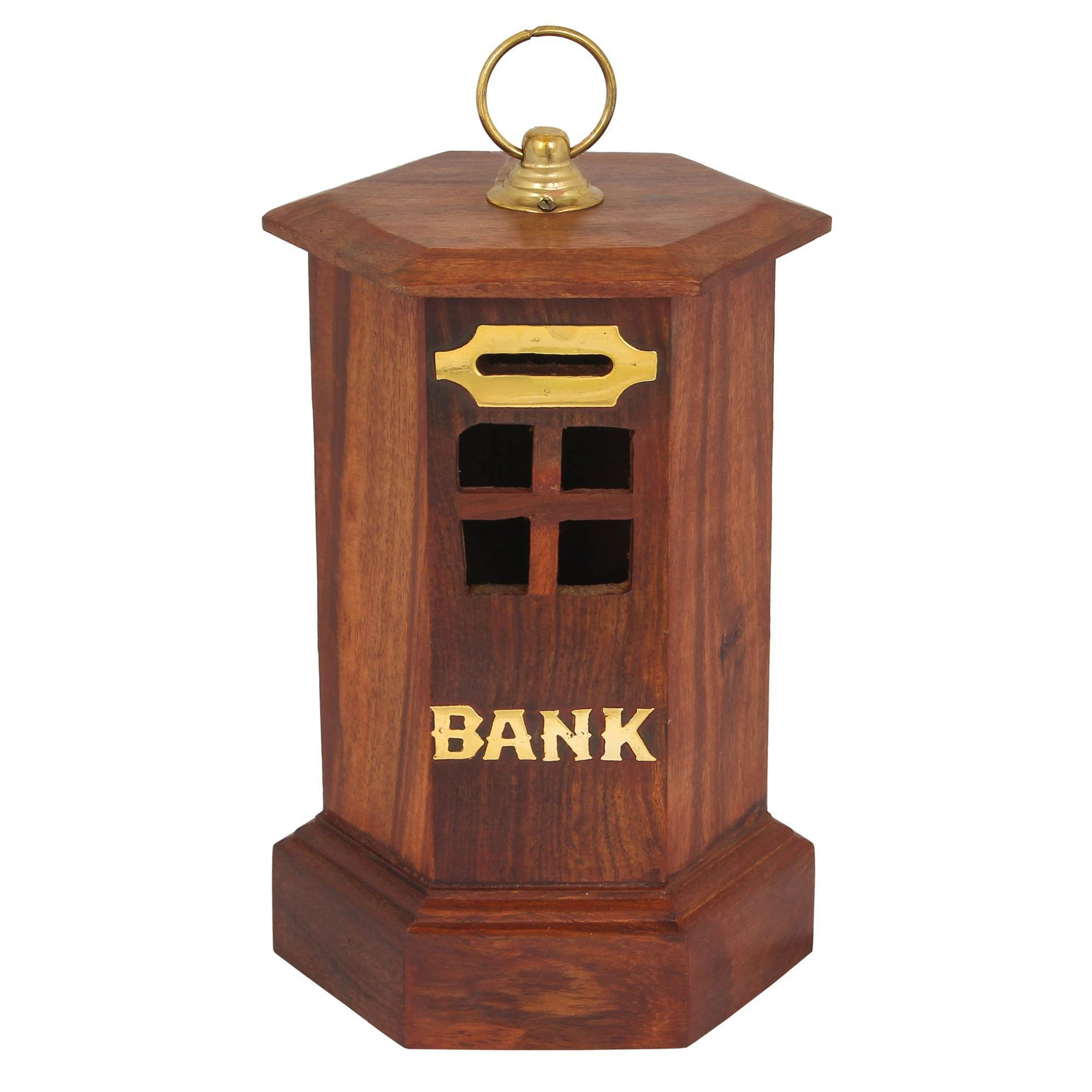 METAL CAP WOODEN PIGGY BANK