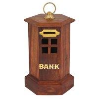 METAL CAP WOODEN PIGGY BANK