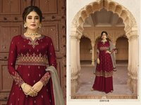 Satin Georgette With Embroidery Work Long Gown