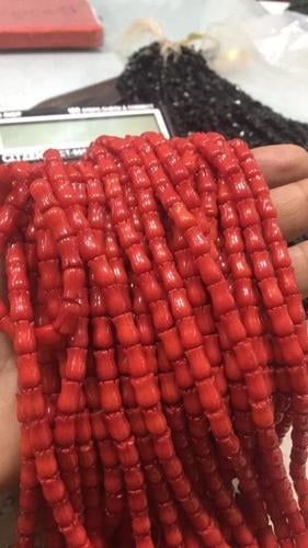 15 Inches Red Coral Tulip Shape Carved Beads,Red Coral Beads