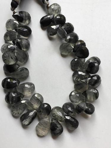 8 inch Beautiful quality black rutile pear briolettes 9/13mm