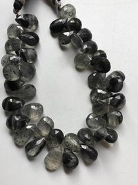 8 inch Beautiful quality black rutile pear briolettes 9/13mm