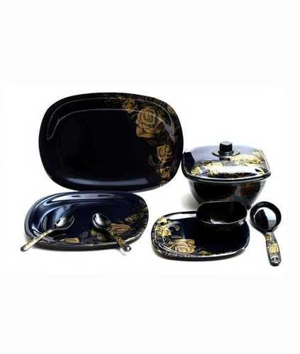 Aaico black 40pcs melamine dinner set