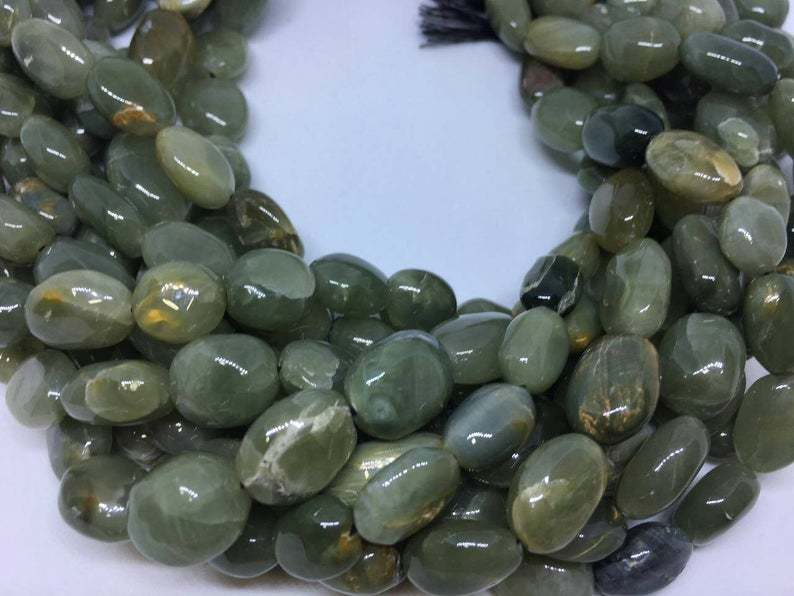 Natural Cats Eye Oval Nuggets Beads, 13 Inches Strand, 10x13mm