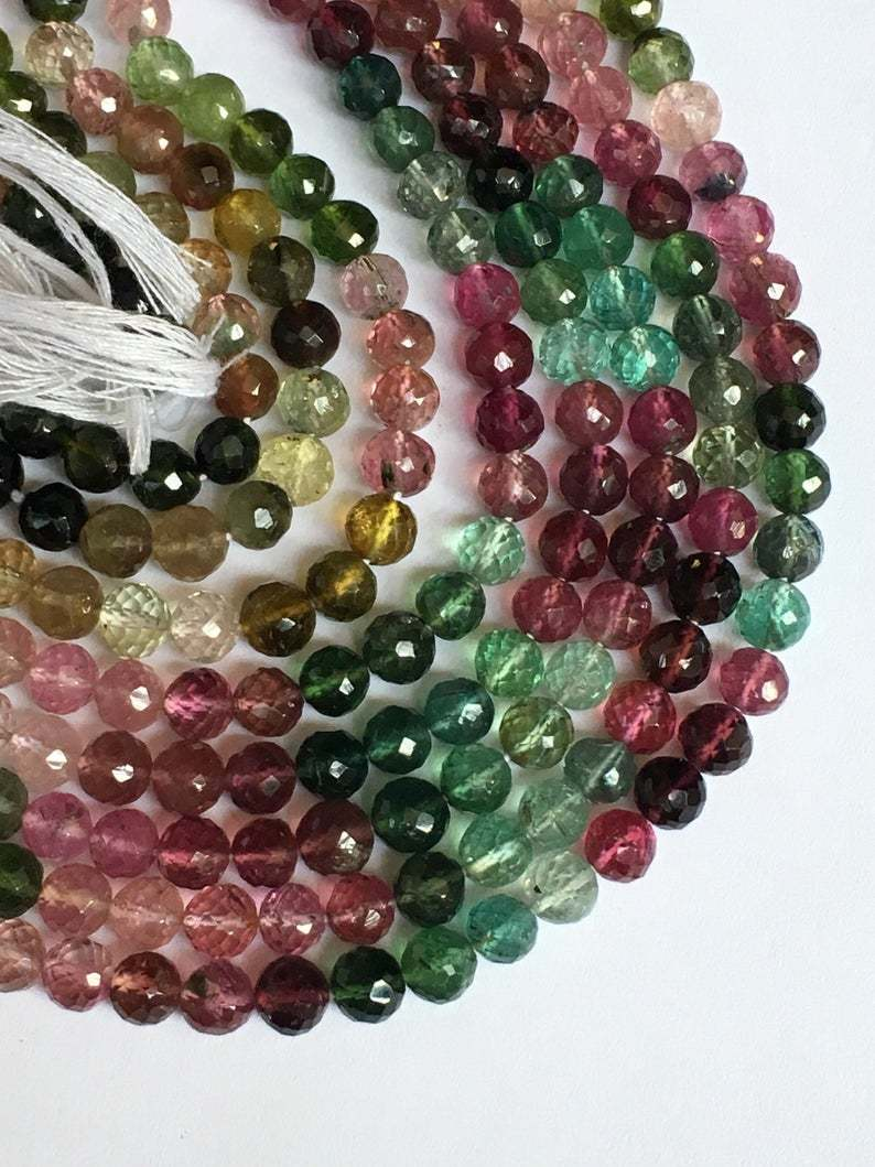 14 Inch Finest Quality Rare Gemstone Aaa Multi Tourmaline Perfect Round Faceted Beads