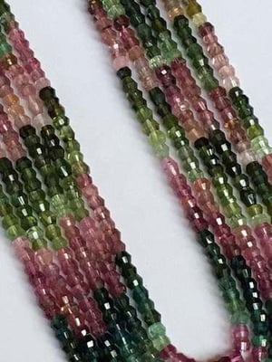 14 Inch Finest Quality Multi Tourmaline Barrel Shape Faceted Beads,4mm Beads