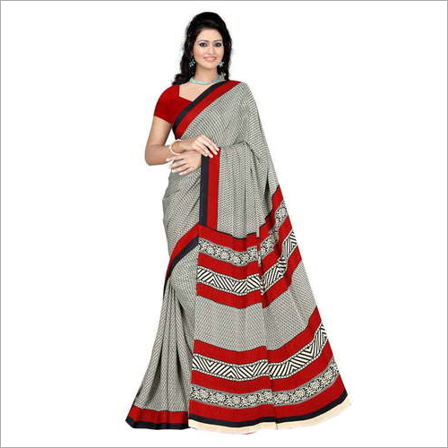 Ladies Printed Crepe Saree