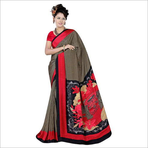 Ladies Floral Print Crepe Saree