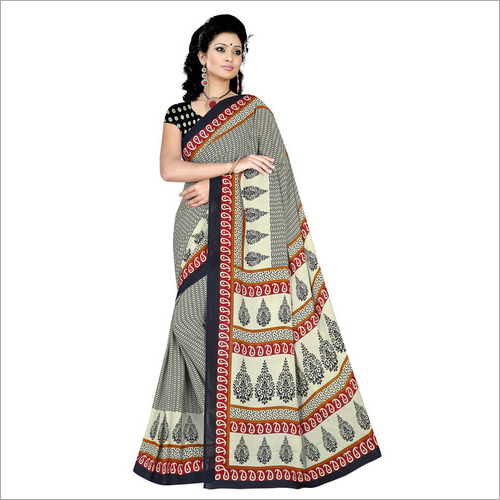 Office Printed Crepe Saree