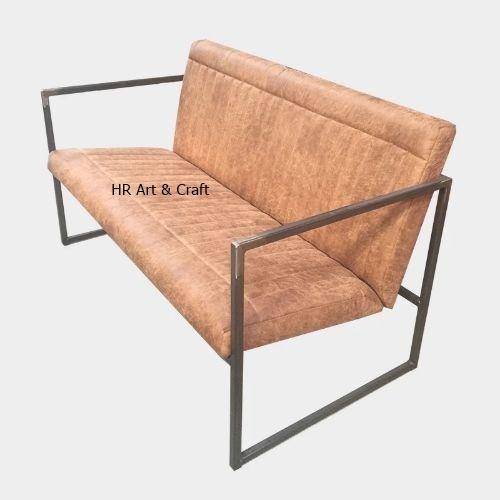 Traditional Iron & Leather Sofa