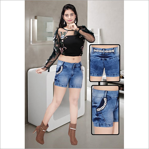 Ladies Denim Fancy Shorts