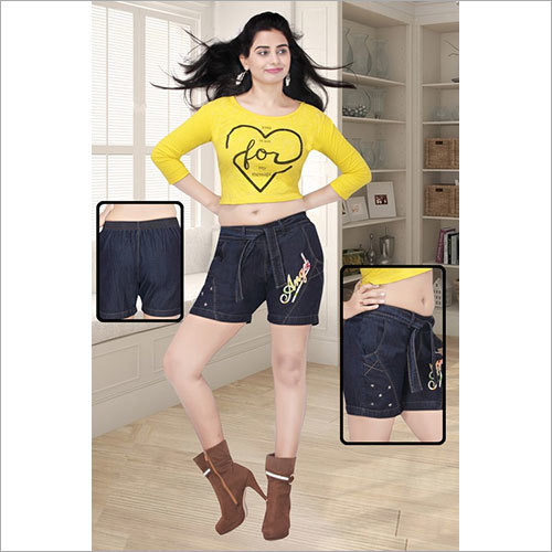 Ladies Denim Patch Shorts