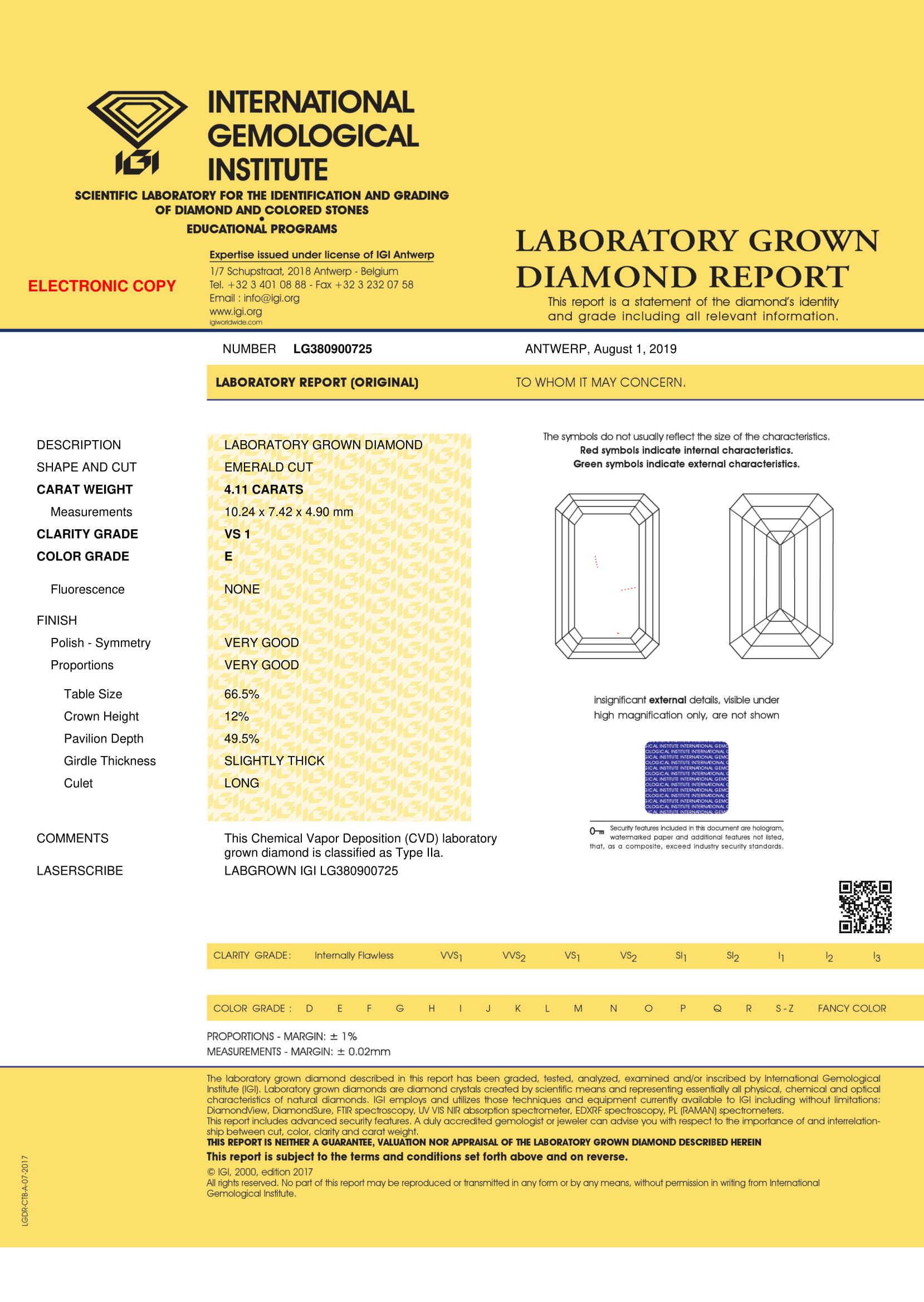 Emerald Diamond 4.41ct E VS1 Shape IGI Certified CVD TYPE2A